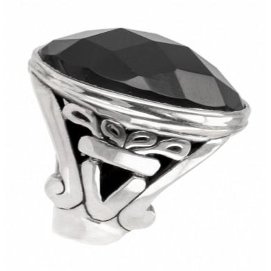 Schwarzer Onyx mit Facettenschliff in Silber Ring von Jalan Jalan