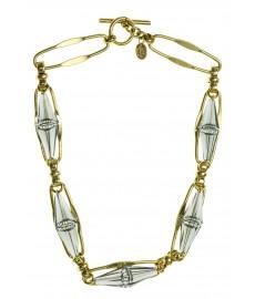 Aris Geldis Art Deco Halskette mit Swarovki Kristallen in Grau