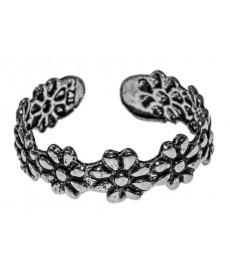 Fußring mit Blüte aus Silber