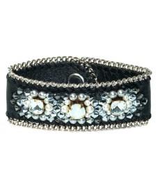 Leder Armband mit weißen Swarovski von Buba London