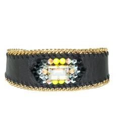 Leder Armband in schwarz von Buba London