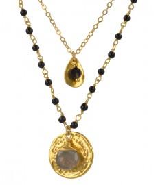 Chan Luu Halskette mit Onyx und Labradorit Steinen in Gold