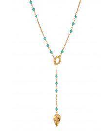 Offene Halskette mit Tuerkisen und Gold von Chan Luu