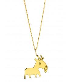Stier als Schmuckanhaenger in Gold mit Halskette von Claire Naa aus Paris