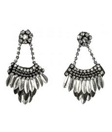 Deepa Gurnani Ohrringe in Silber und schwarz