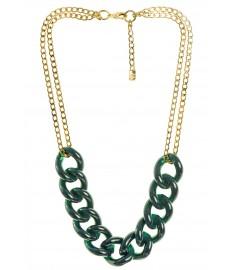 Eva Krystal Halskette mit Goldenen und Gruenen Farben