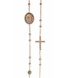 Roségold Halskette mit Madonna und Kreuz