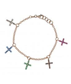 Bettelarmband mit Kreuz in Roségold von Augustkinder