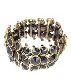 Jean Paul Gaultier Armband mit drei Reihen und schwarzen Steinen