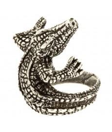 Krokodil Ring Silber