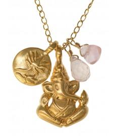 Rosenquarz Anhänger als Halskette mit Ganesha von Satya