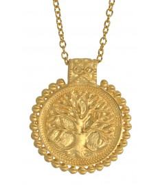 Tree of Life Anhaenger in Gold mit Kette von Satya