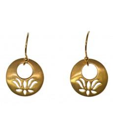 Vergoldete Lotus Ohrringe als Stecker von Satya