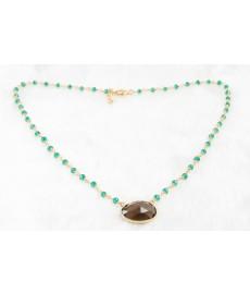 Gruene Steine als kurze Halskette mit Gold
