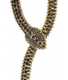 Schlange als Halskette in Gold mit schwarzen Steinen