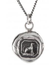 Hund als Anhaenger in Silber mit Kette von Pyrrha